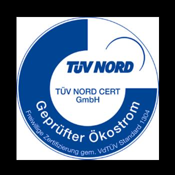 Unser Ökostrom ist vom TÜV Nord zertifiziert